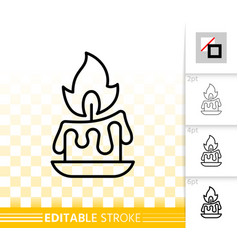 Candle flame simple black line fire icon vector