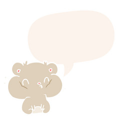 Cartoon hamster and full cheek pouches and speech vector