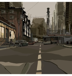 cartoon street of the ruined city vector image