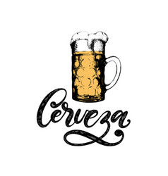 cerveza hand lettering translation from vector image