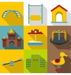 Children games icons set flat style vector