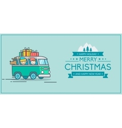 Christmas and New Year s greeting card vector