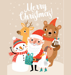 christmas card with santa and funny characters vector image