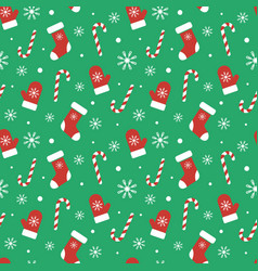 Christmas seamless pattern with mittens candy vector
