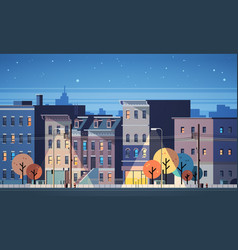 City building houses night view skyline background vector