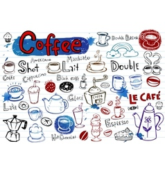 Coffee doodles vector image