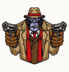 Colorful concept aggressive gorilla gangster vector