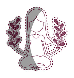 Contour woman relaxing with plants branches vector
