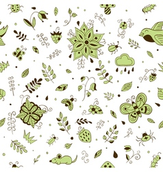 Cute hand drawn floral seamless summer forest vector image