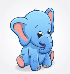 Cute infant blue elephant sitting and smiling baby vector