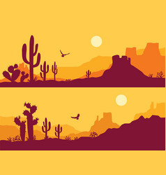 desert landscape with cactuses arizona desert vector image