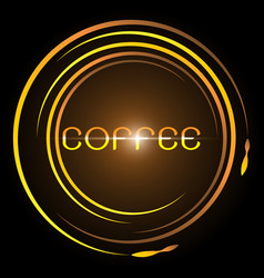 design coffee glowing bright circle vector image
