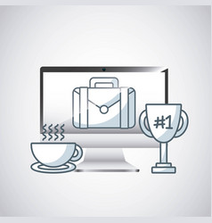Desktop computer technology icon vector