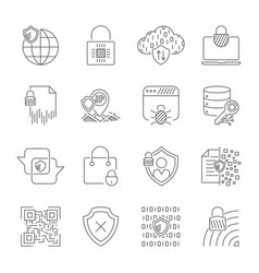 digital protection and internet security icons set vector image