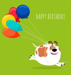Dog running with air balloons card vector