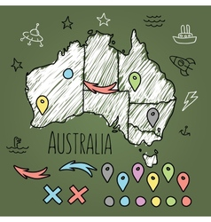 Doodle Australia map on green chalkboard with pins vector image