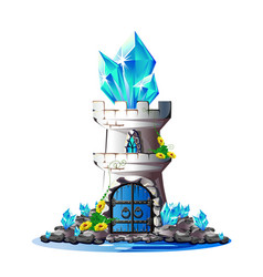 fairytale tower with crystals vector image