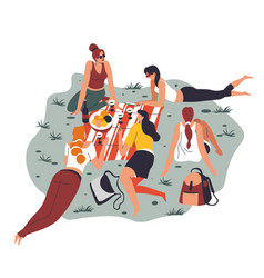 female friends on picnic eating talking and vector image