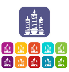 Festive candles icons set vector