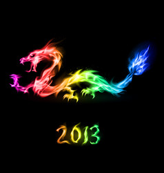 fiery rainbow dragon on black background for vector image