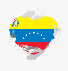 flag of venezuela isolated on grunge heart vector image