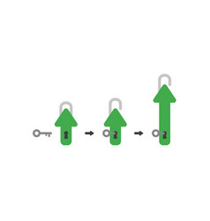 flat design concept of closed arrow padlock with vector image