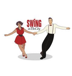 Funny couple dancing swing rock or lindy hop vector