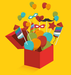 gift box with fireworks and balloons vector image