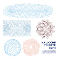 Guilloche rosette set decorative abstract vector