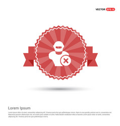 Hacker icon - red ribbon banner vector