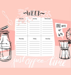 Hand made abstract textured weekly planner vector