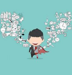 Happy face businessman on business doodles vector