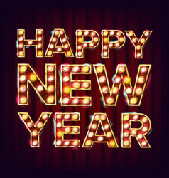happy new year sign realistic retro shine vector image