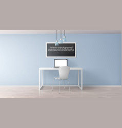 home office workplace realistic mockup vector image