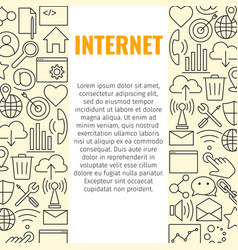 internet line icons banner vector image