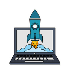 Laptop computer with startup rocket isolated icon vector
