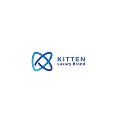 Letter k 3d blue colour spiral creative logo vector