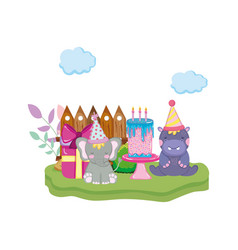 little elephant and hippo with party hats vector image