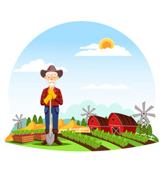 Man or grandfather farmer at farm vector