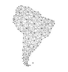 Map of south america from polygonal black lines vector