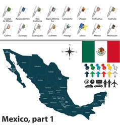 Mexico map with flags part 01 vector