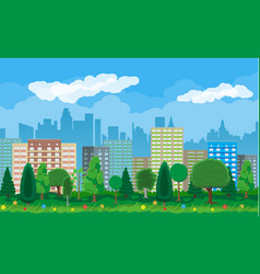 Modern city view cityscape and park vector
