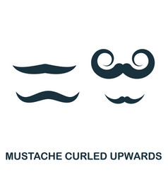 Mustache curled upwards icon flat style icon vector