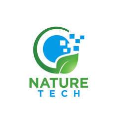 Nature leaf and tech logo design template vector