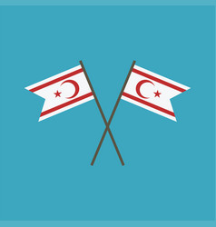 Northern cyprus flag icon in flat design vector