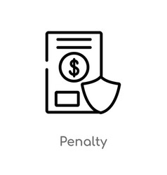 Outline penalty icon isolated black simple line vector