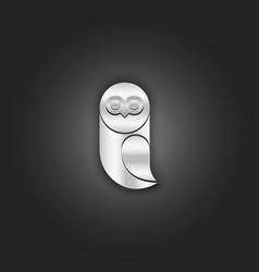 owl logo metallic silver shabtexture realistic vector image