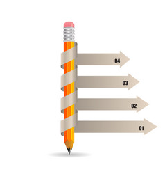 pencil infographics with shadow vector image