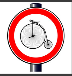 penny farthing traffic sign vector image