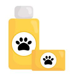 Pet shampoo bottle and soap vector